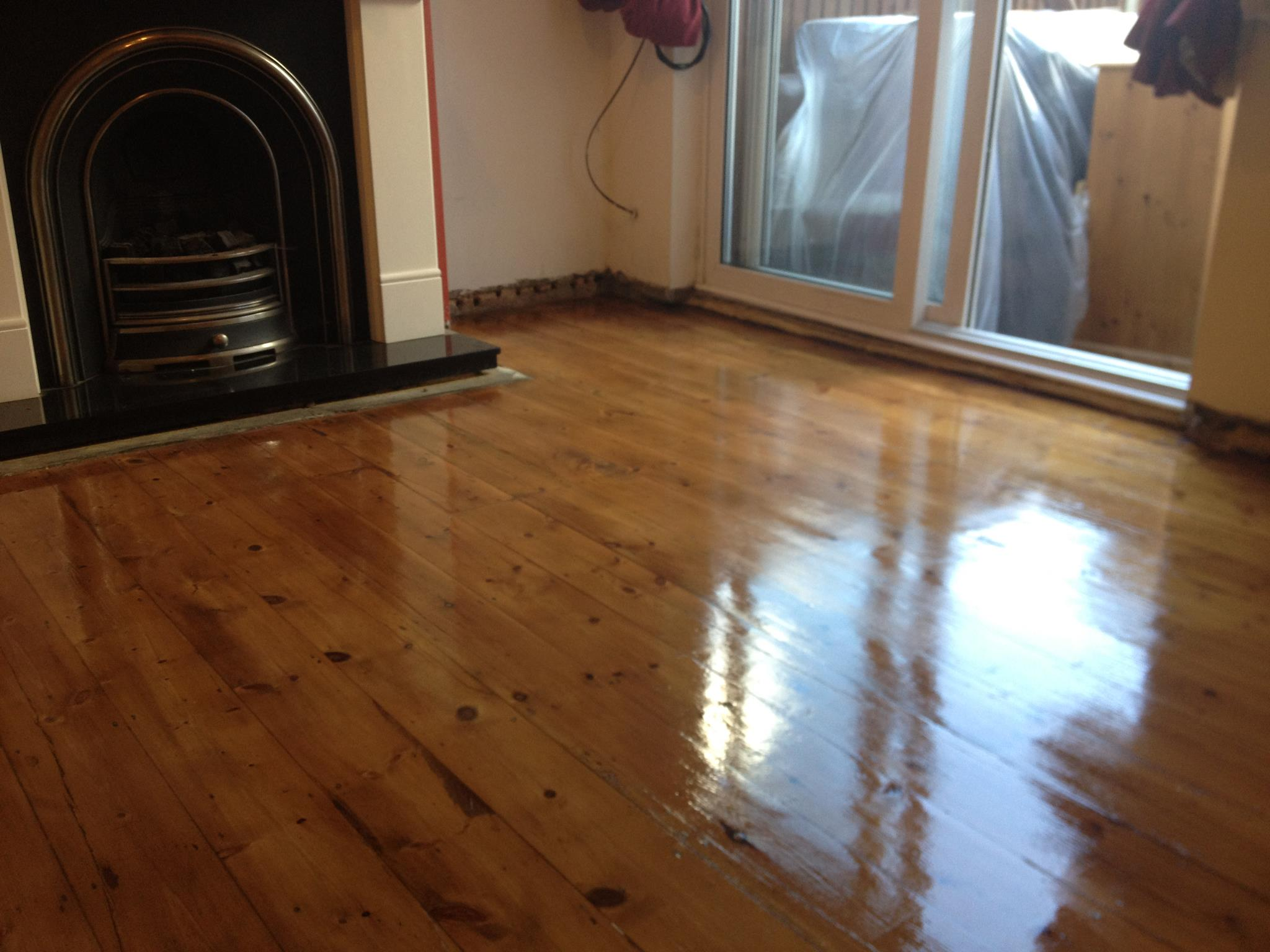 Sanding of Pine Floor Boards